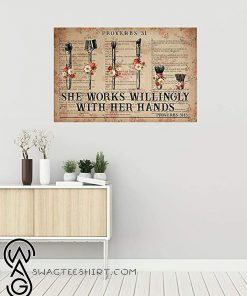 She works wiliingly with her hands makeup tools flowers dictionary poster