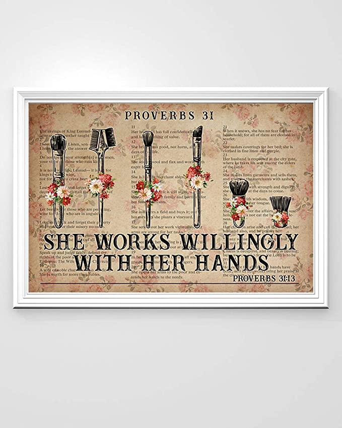 She works wiliingly with her hands makeup tools flowers dictionary poster 3