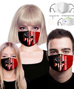 Skull ohio state buckeyes american flag face mask 1