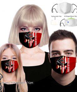 Skull ohio state buckeyes american flag face mask