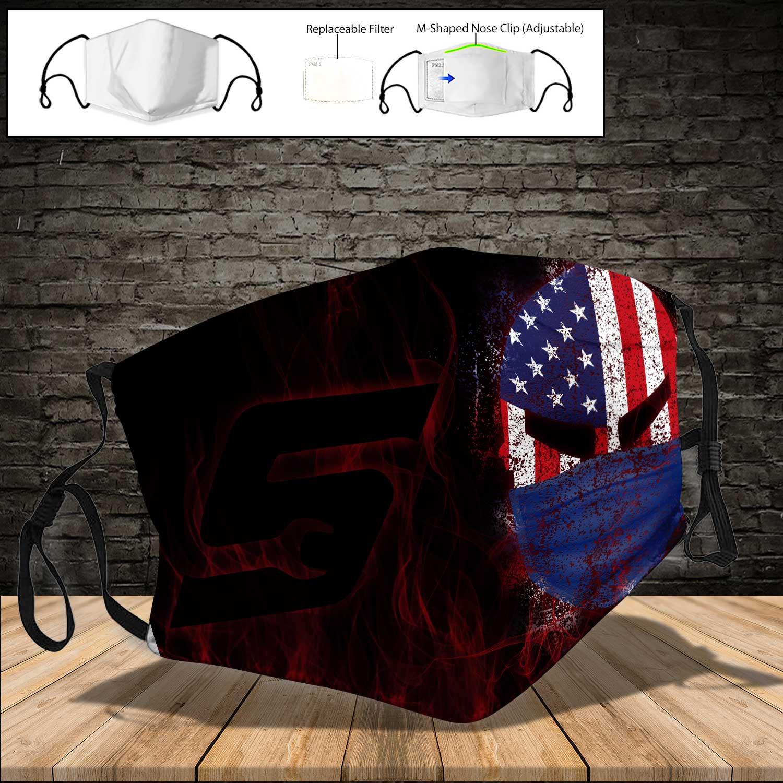 Snap on american flag skull full printing face mask 3