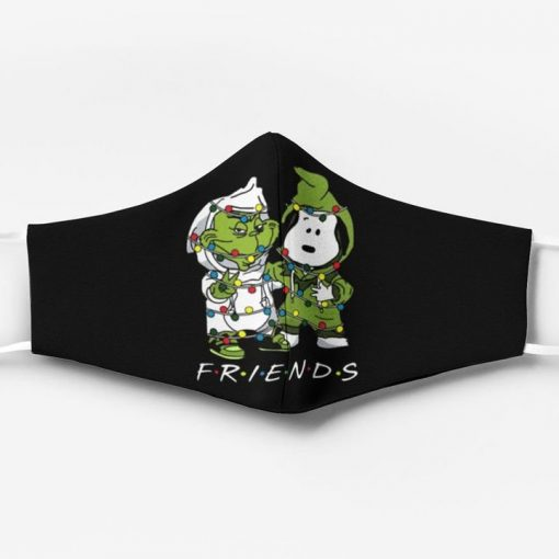 Snoopy and grinch friends christmas face mask 1