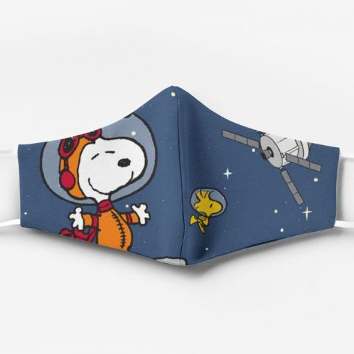 Snoopy and woodstock in space all over printed face mask 2