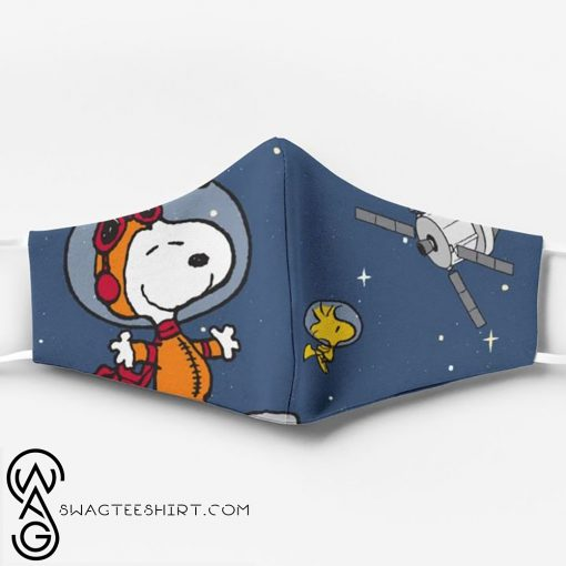 Snoopy and woodstock in space all over printed face mask