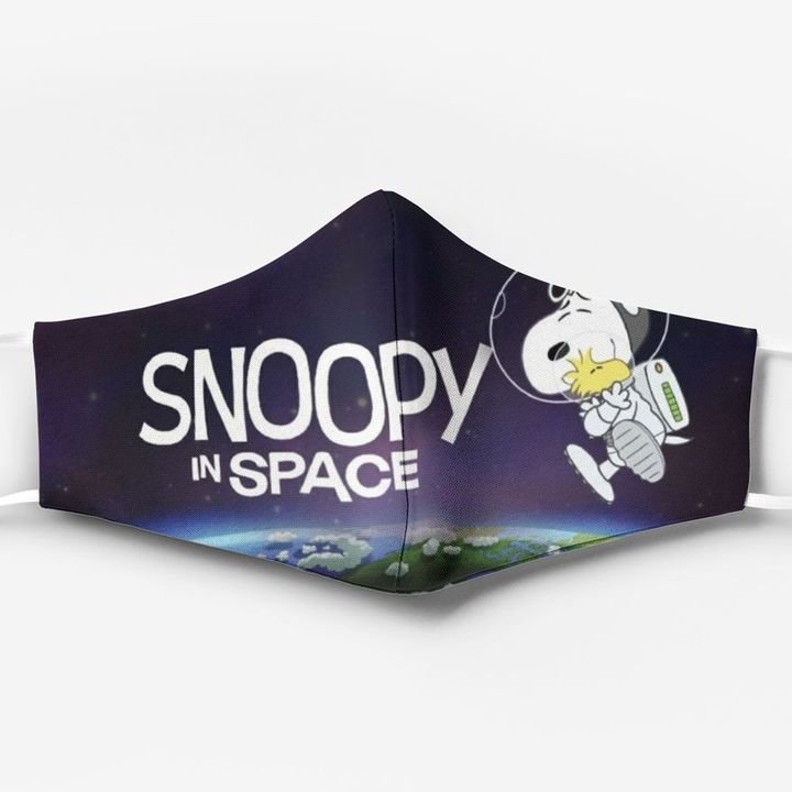 Snoopy and woodstock in space full printing face mask 2
