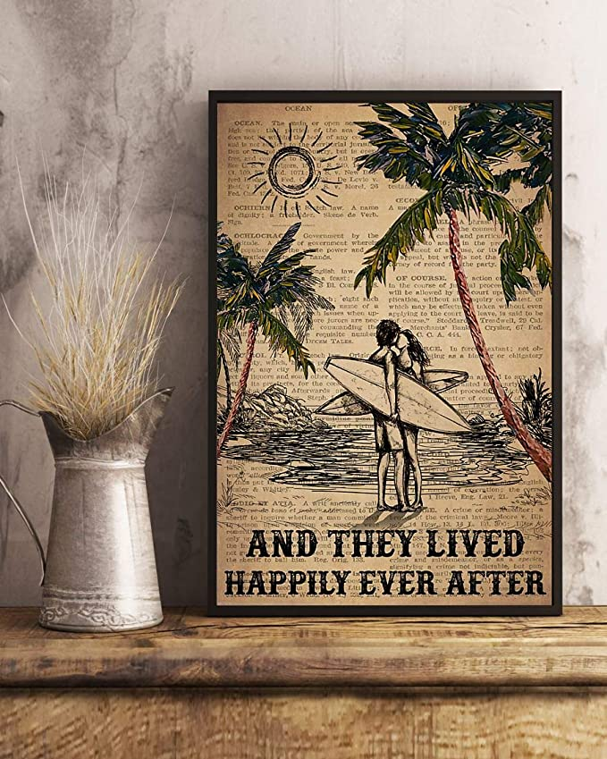 Surfing and they lived happily ever after surfing couple dictionary poster 2