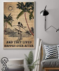 Surfing and they lived happily ever after surfing couple dictionary poster