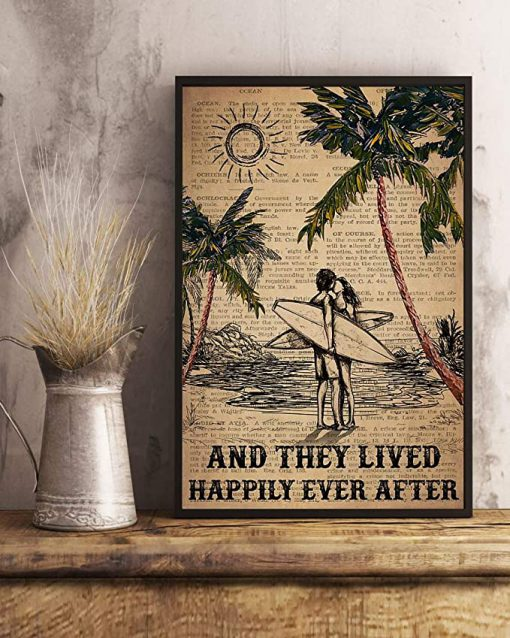 Surfing and they lived happily ever after surfing couple dictionary poster 3