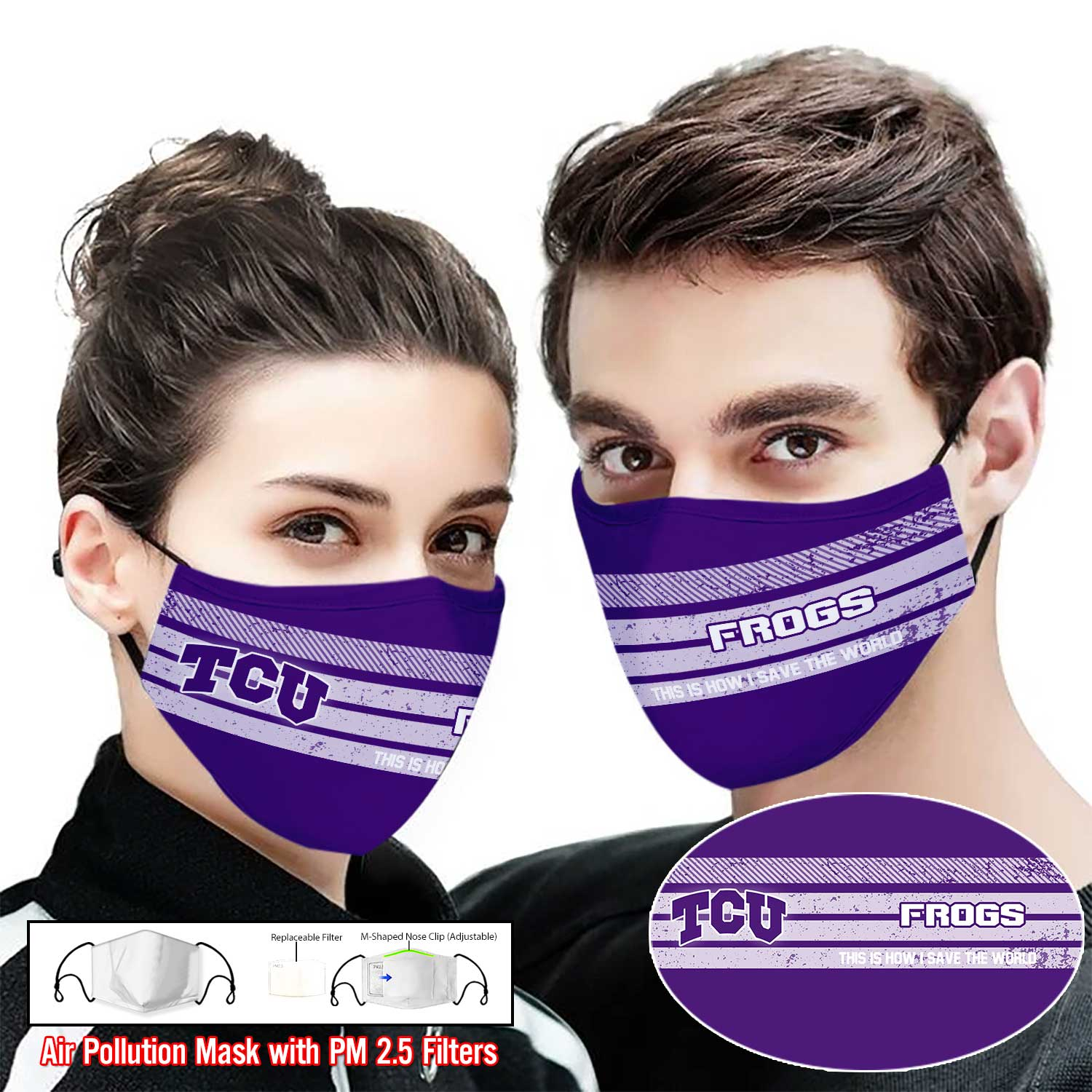 TCU horned frogs this is how i save the world face mask 1