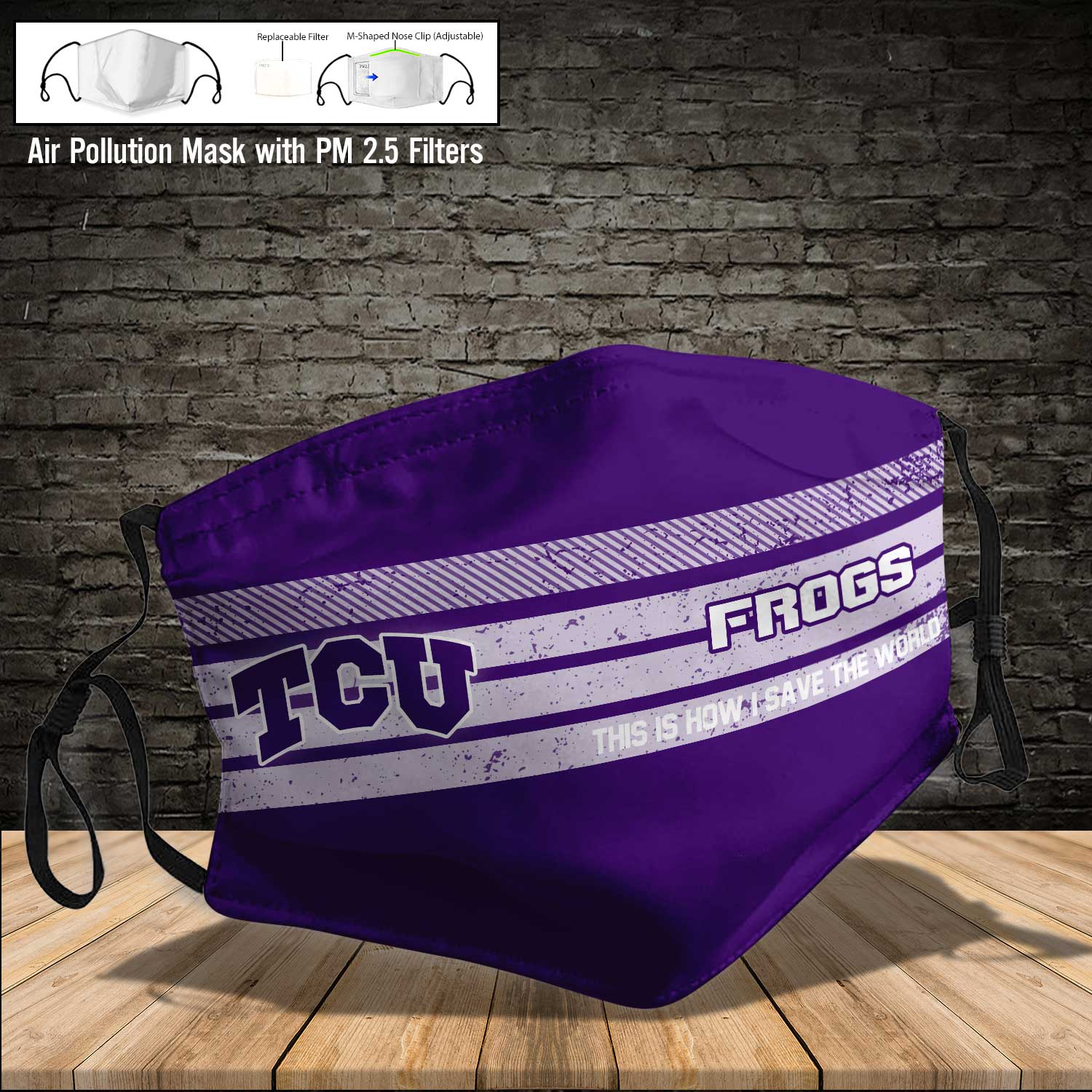 TCU horned frogs this is how i save the world face mask 4