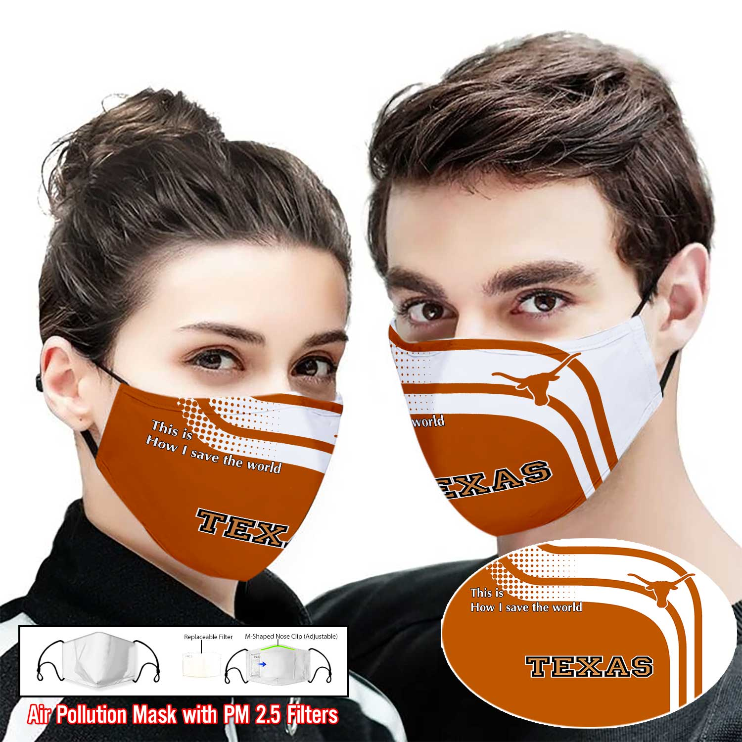Texas longhorns this is how i save the world full printing face mask 1