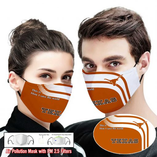 Texas longhorns this is how i save the world full printing face mask 2