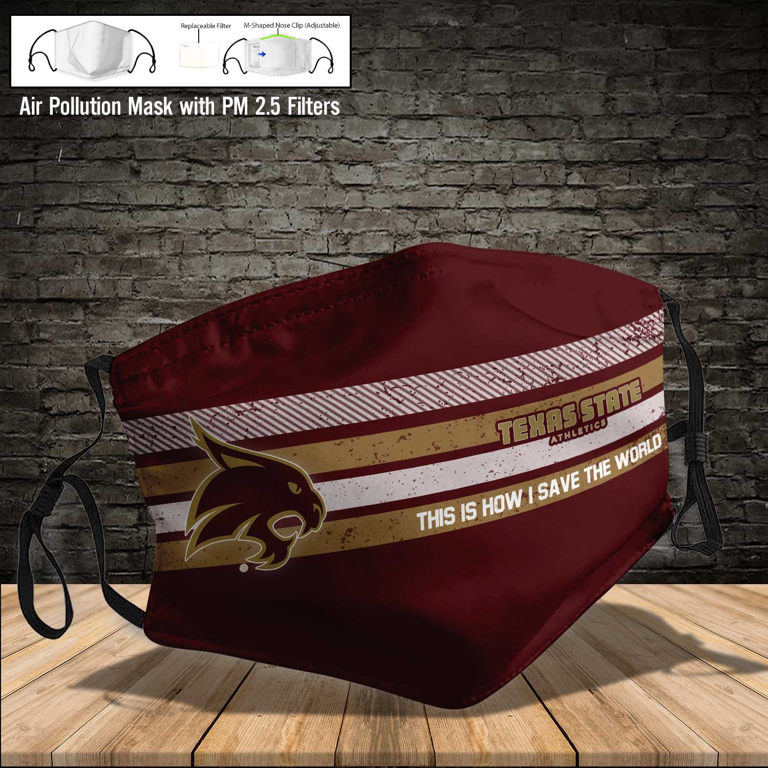 Texas state bobcats this is how i save the world face mask 3
