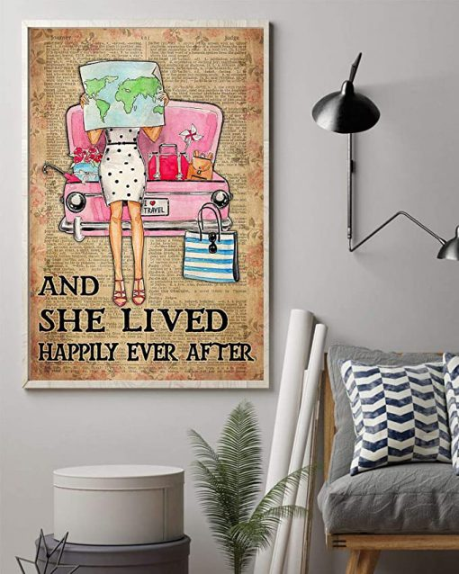 Travelling girl and she lived happily ever after dictionary background poster 1