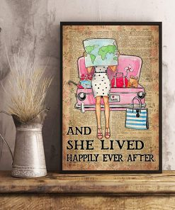 Travelling girl and she lived happily ever after dictionary background poster 2