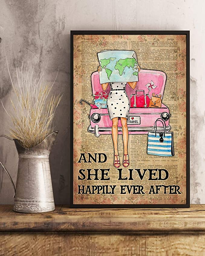 Travelling girl and she lived happily ever after dictionary background poster 3