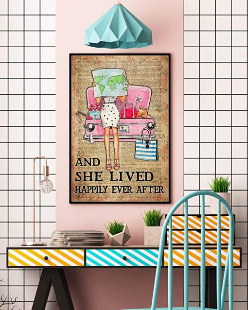 Travelling girl and she lived happily ever after dictionary background poster 4