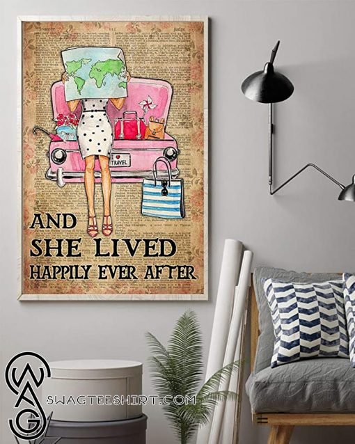 Travelling girl and she lived happily ever after dictionary background poster