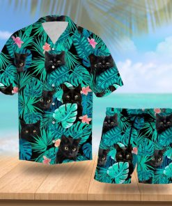 Tropical black cat hawaiian shirt 1