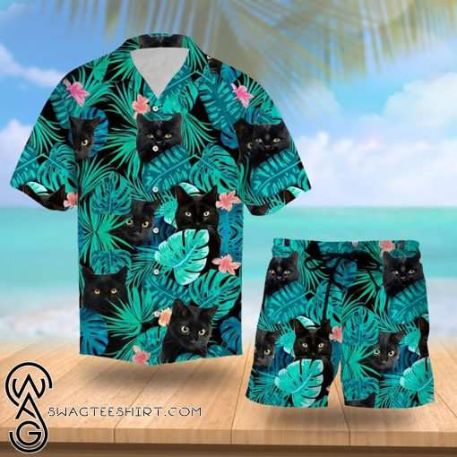 Tropical black cat hawaiian shirt