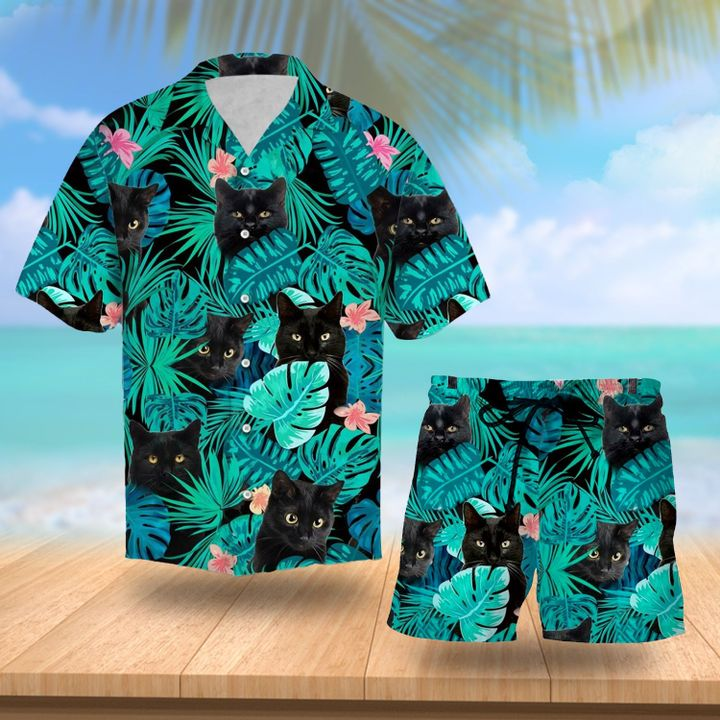 Tropical black cat hawaiian shorts