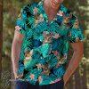 Tropical cat and flower hawaiian shirt