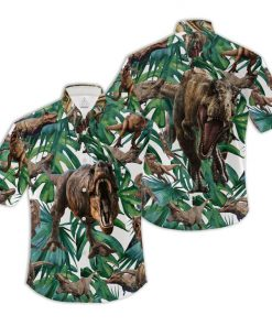 Tropical t-rex hawaiian shirt 3