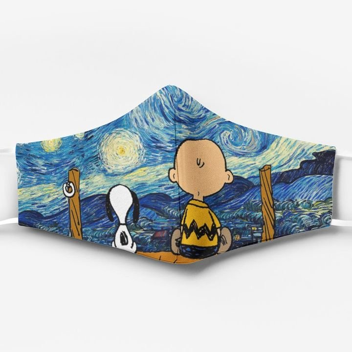 Vincent van gogh starry night snoopy and charlie brown full printing face mask 1