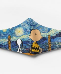 Vincent van gogh starry night snoopy and charlie brown full printing face mask 2