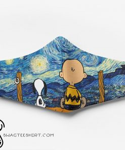 Vincent van gogh starry night snoopy and charlie brown full printing face mask