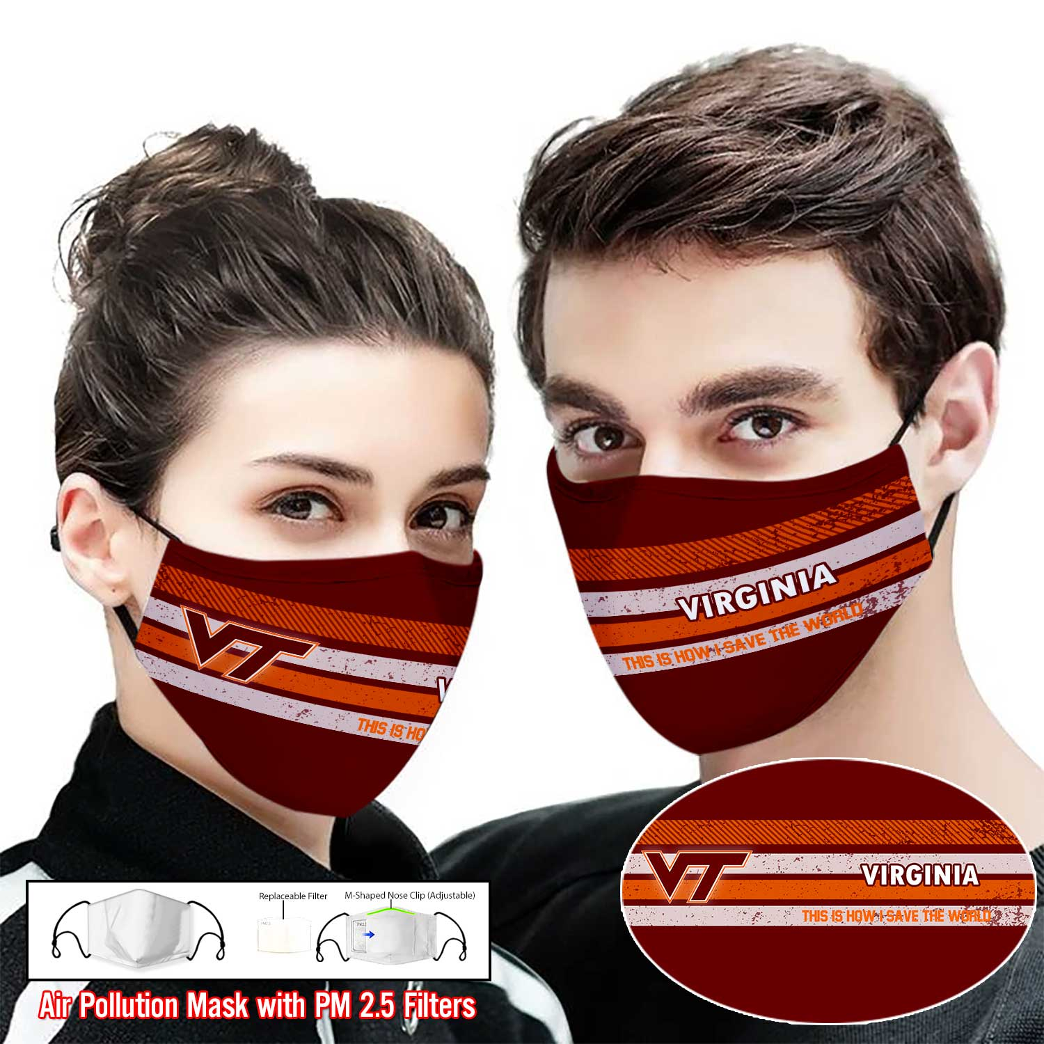 Virginia tech hokies this is how i save the world face mask 1