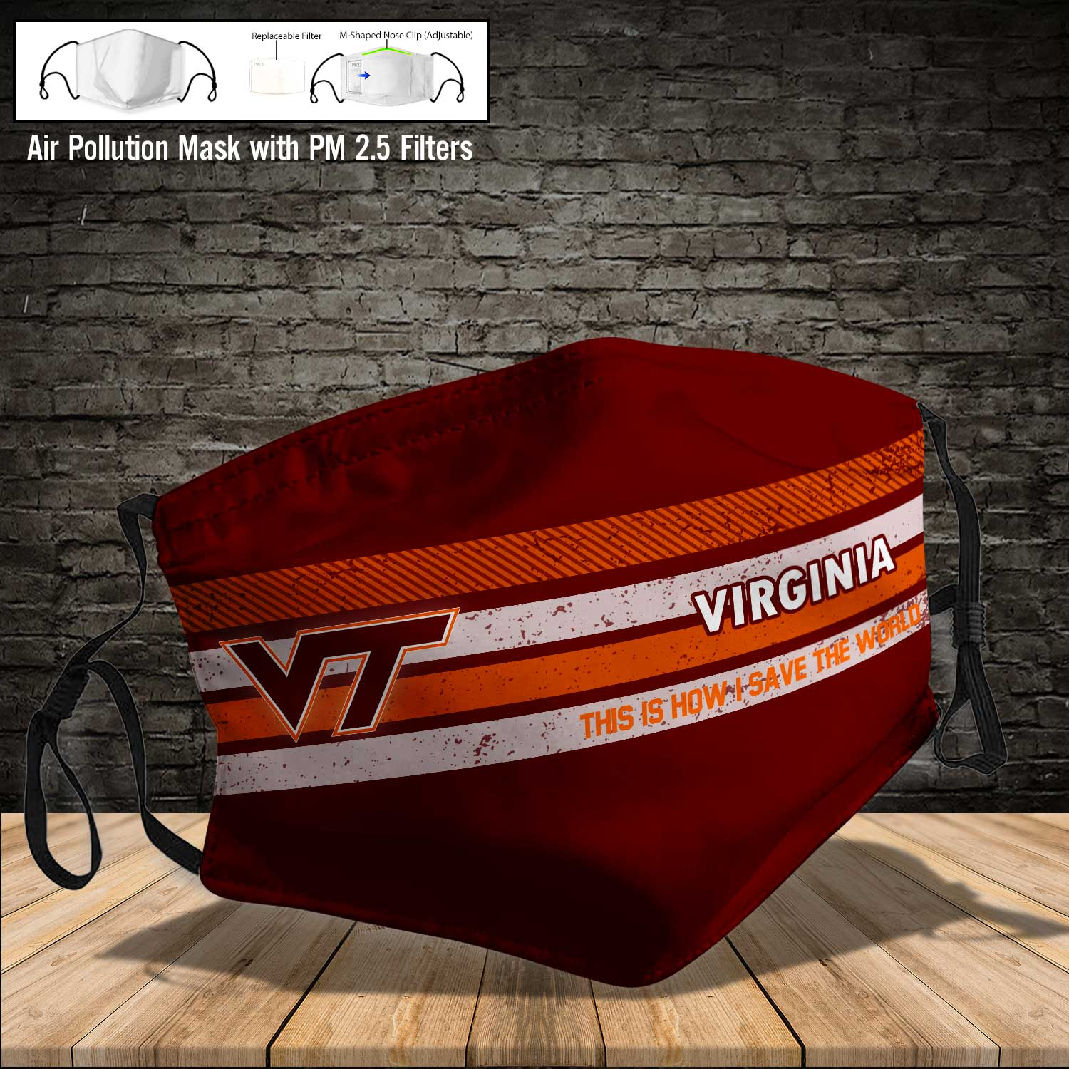 Virginia tech hokies this is how i save the world face mask 4