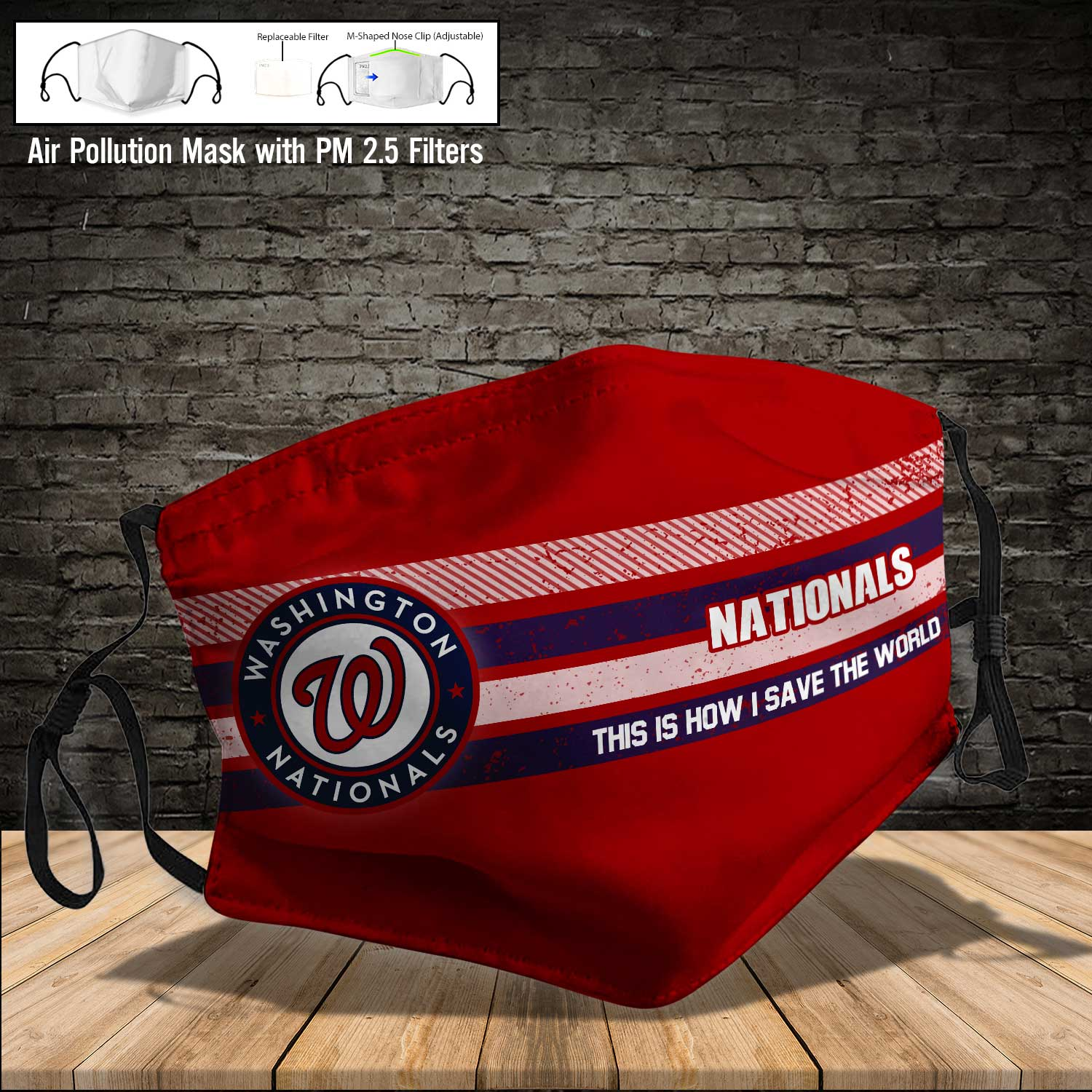 Washington nationals this is how i save the world face mask 4