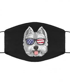West highland white terrier dog 4th of july american westie usa flag face mask 1