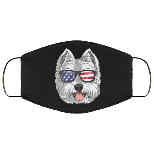 West highland white terrier dog 4th of july american westie usa flag face mask 3