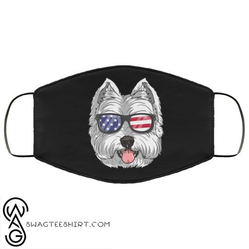 West highland white terrier dog 4th of july american westie usa flag face mask