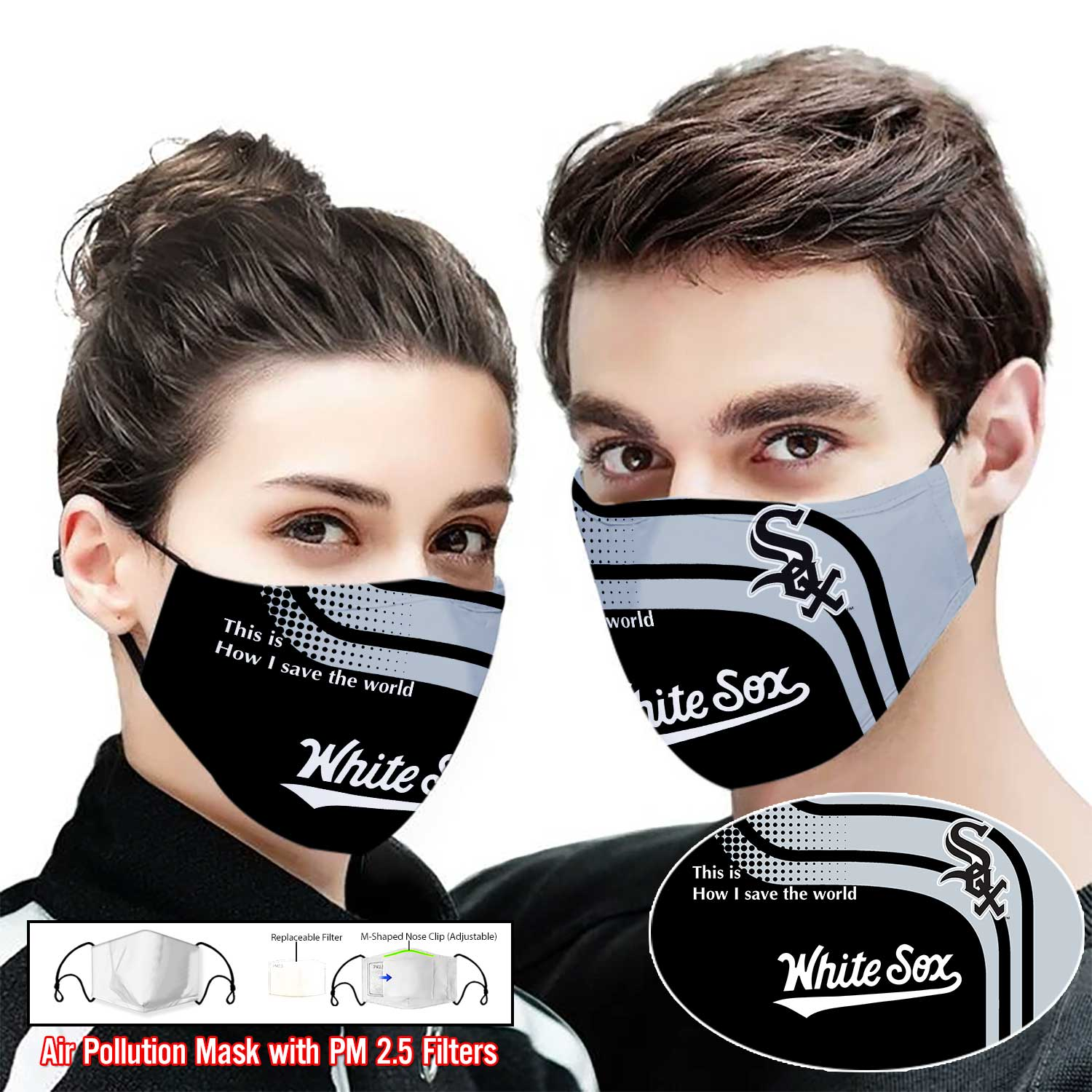 White sox this is how i save the world full printing face mask 2