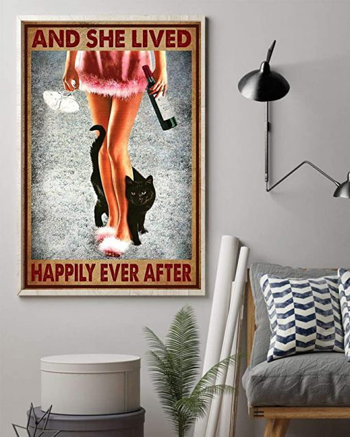 Wine and black cat and she lived happily ever after poster 1