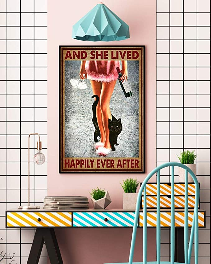 Wine and black cat and she lived happily ever after poster 2