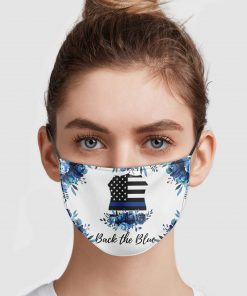 Back the blue police thin blue line usa flag face mask 2