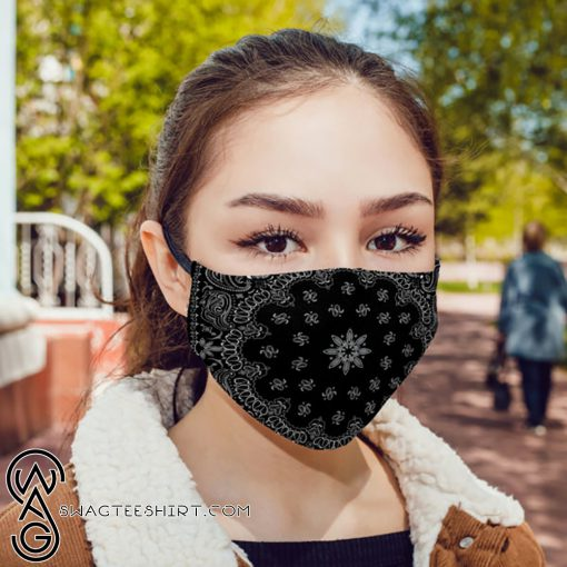 Black bandana anti pollution face mask