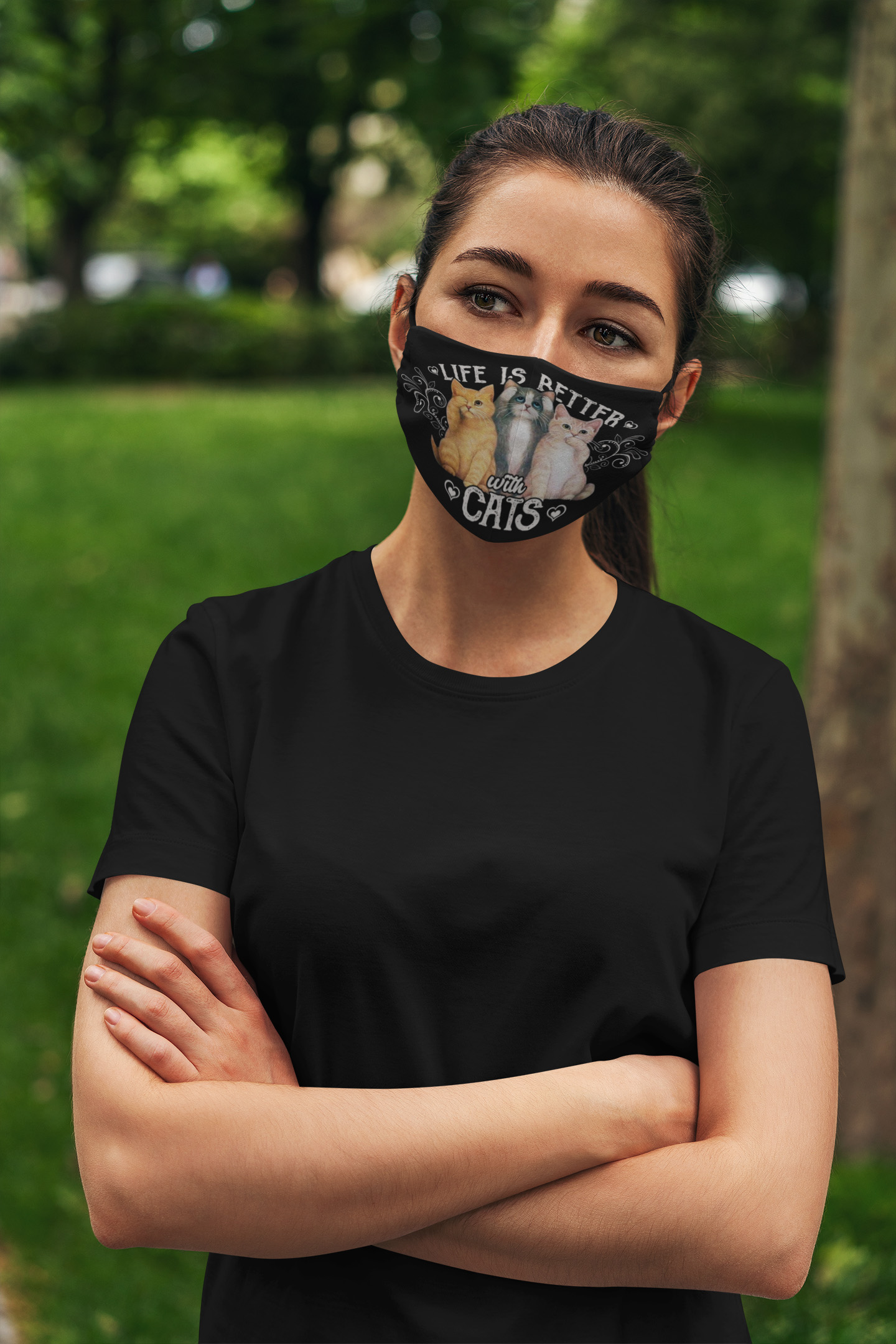 Life is better with cats anti pollution face mask 3