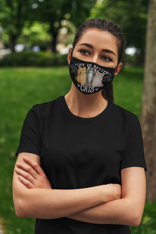 Life is better with cats anti pollution face mask 4