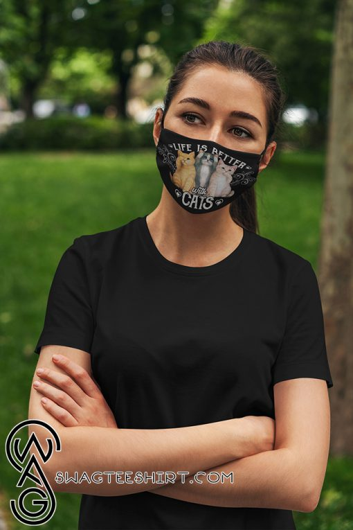 Life is better with cats anti pollution face mask