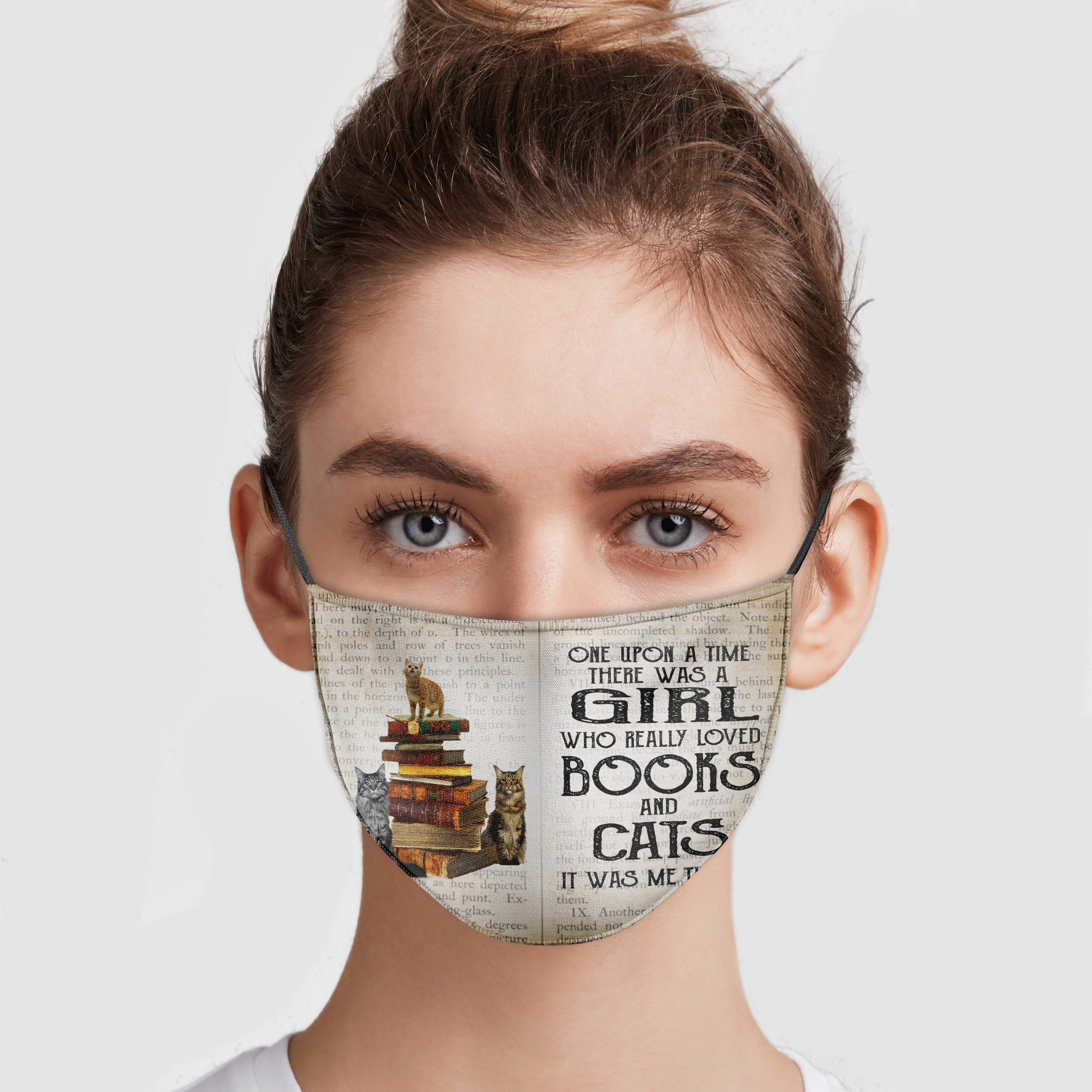 One upon a time there was a girl who loved books and cats anti pollution face mask 1