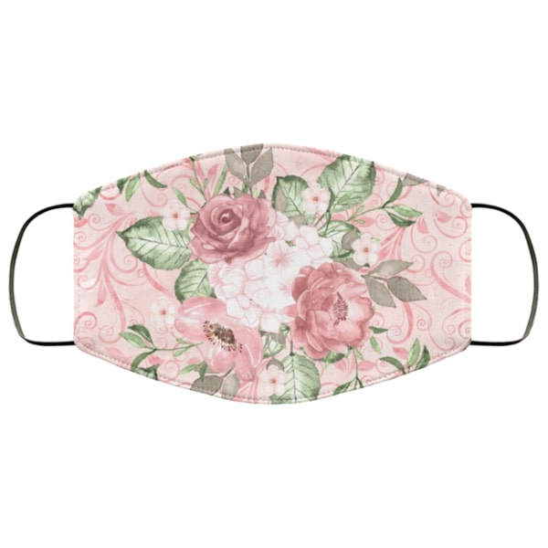 Pink floral roses anti pollution face mask 1