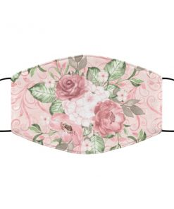 Pink floral roses anti pollution face mask 4