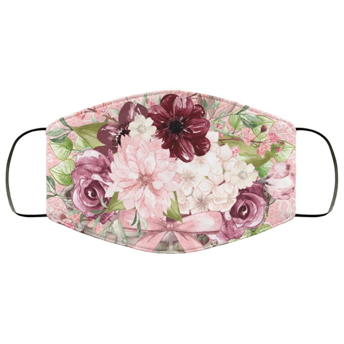 Pretty pink floral anti pollution face mask 2