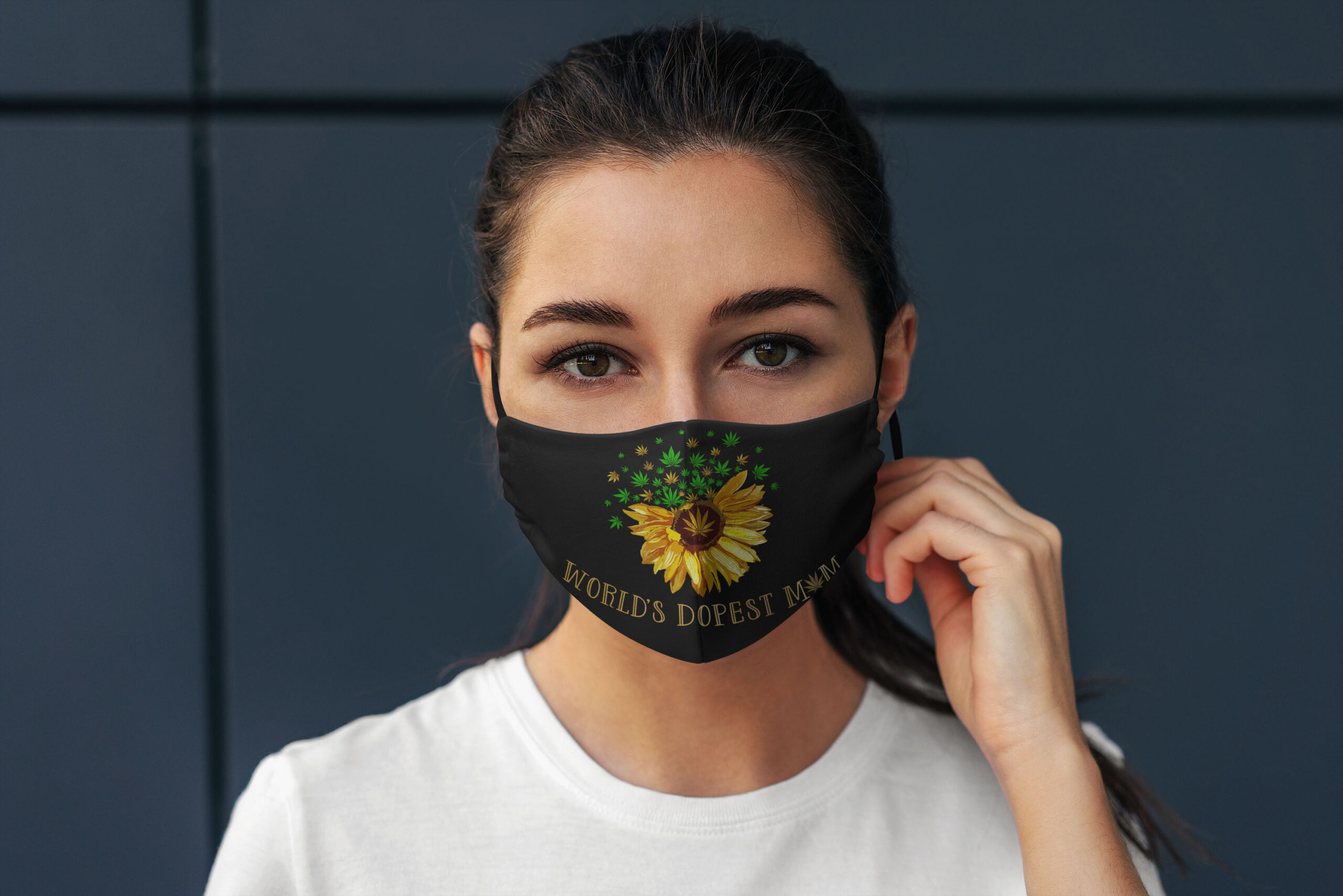 Worlds dopest mom weed sunflower anti pollution face mask 3