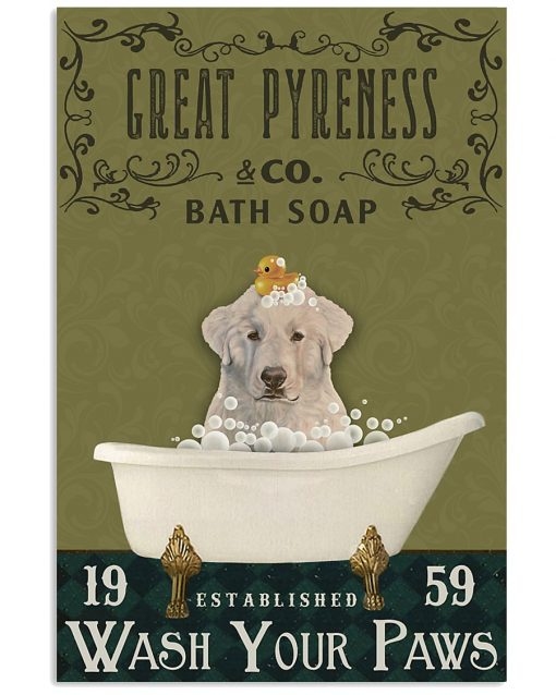 bath soap company great pyreness wash your paws vintage poster 1